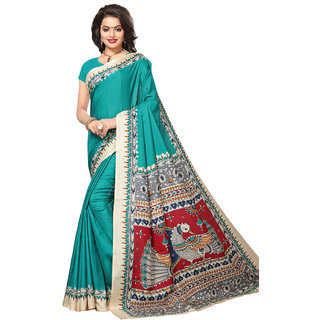 Swaron Women's Green Colored Kalamkari Print Casual Wear Tussar Silk Saree