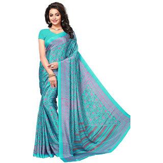Swaron Women's Blue Colored Printed Casual Wear Crepe Saree