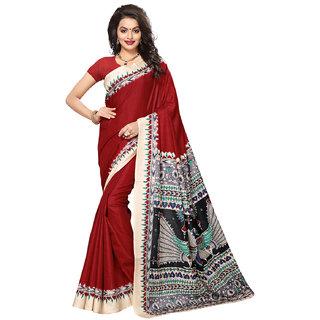 Swaron Women's Maroon Colored Kalamkari Print Casual Wear Tussar Silk Saree