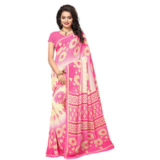 Swaron Women's Off White and Pink Colored Printed Casual Wear Georgette Saree
