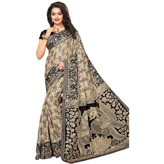 Meia Womens Beige and Black Colored Printed Casual Wear Tussar Silk Saree