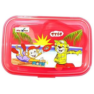 Pin to Pen Lunch Box Set, Red, Microwavable 2 Containers Lunch Box (500 ml)