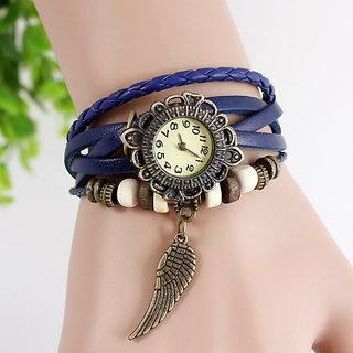 Leather Women's Watch Bracelet Ladies Watch - Blue