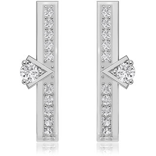 Joal Solitaire Collection White 925 Sterling Silver Cubic Zirconia Earrings For Women