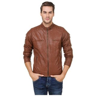 Amasree Brown Pu leather Casual Plain Jacket  For Men  Boys