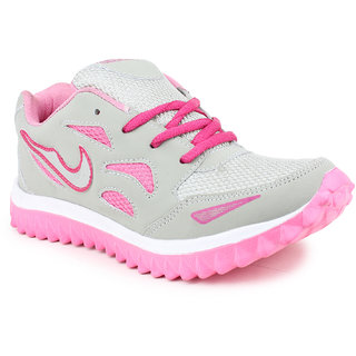 zapatoz Women's Pink & Gray Sports Shoes