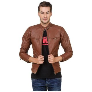 Amasree Pu Leather Brown Plain Casual Jacket For Men  Boys