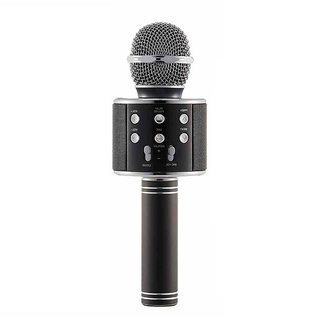 WS-858 Bluetooth Microphone Recording Condenser Black Microphone Stand with Bluetooth Speaker Audio Recording for Cellphone Microphone