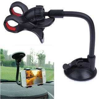 Premium Quality Car Phone Mount Holder With Button to Regulate Width, 360 degree Rotating Support Holder Windshield / Dashboard Universal Car Mobile Phone cradle for iOS / Android and all Smartphones Style Code-59