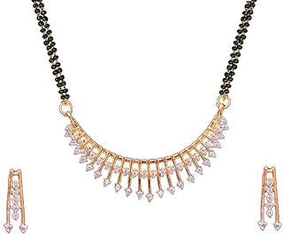Aabhu American Diamond Trandy Mangalsutra Tanmaniya Necklace Pendant Set With Earring And Chain Jewellery For Women