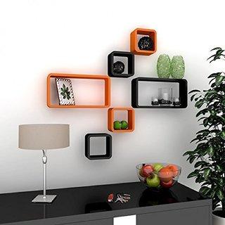 Santosha Decor Wall Decoration Shelf Cube Rectangle Designer Rack And Shelves For Living Room Orange Black Set Of 6 Online 1799 From
