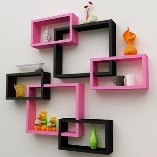 Santosha Decor Wall Decoration Shelf Cube Rectangle Designer Rack And Shelves For Living Room Pink Black Set Of 6
