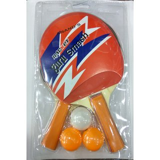 Best Ideas Pure Wooden Training Table Tennis TT Set, 2 Racquets and 3 Balls In Multicolors