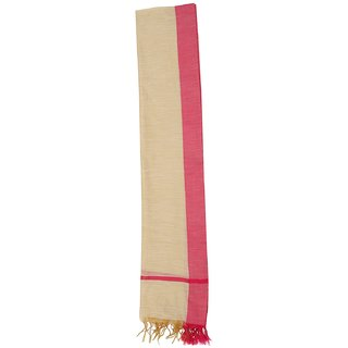 CRAFTZEN Women's Polycotton Dupatta (Brown  Pink)