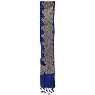 CRAFTZEN Women's Cotton Silk Dupatta (Blue)