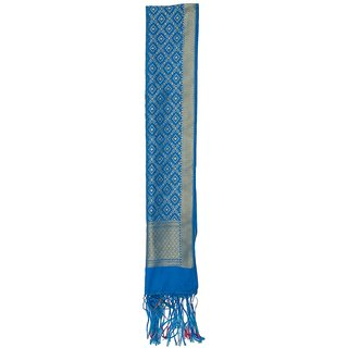 CRAFTZEN Women's Art Silk Dupatta (Blue)