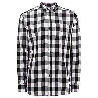 Tom T Men's Check Shirt (Black  White)