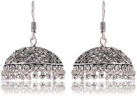 Fashion For Sure Silver Brass Jhumki Earrings for Women (E270)
