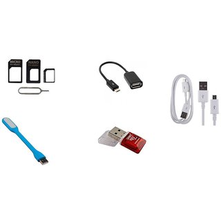 COMBO OF SIM ADAPTER, USB LIGHT, OTG, CARD READER WITH FREE CHARGING CABLE