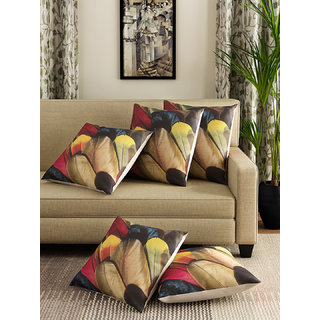 Romee Multicolor Polyester Jute Fabric Feather Print Cushion Cover 16