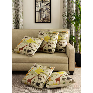 Romee Multicolor Polyester Jute Fabric Animals Print Cushion Cover 16