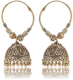 Fashion For Sure Gold Brass Jhumki Earrings for Women (E271)