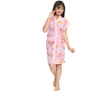 Be You Kids Letter Print Pink Bath Robe for Girls & Boys