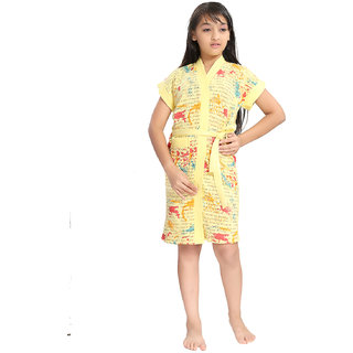 Be You Letter Print Yellow Bath Robe for Kids