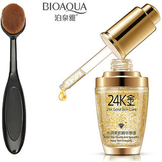 24k Gold Facial Skin Care Anti wrinkle Anti-Ageing Face Serum Moisturizing 1 pc  + Foundation Makeup Brush 1 pc