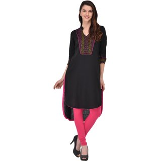 Sgatra Women Cotton Kurta Black Solid  High Low Kurti