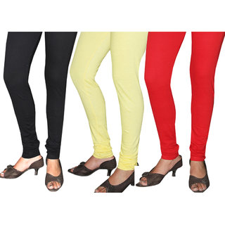 Black - Yellow - Red  Leggings 100% Cotton, Pack of 3 Pieces, For 26 to 34 waist only.