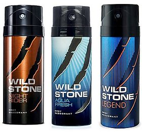Wild Stone Night Rider Aqua Fresh and Legend Deodorant Spray Pack of 3 Combo 150ML each 450ML.