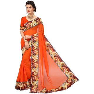 Aika Womens Marble Fabric With Digital Print Lace Saree Orange Color