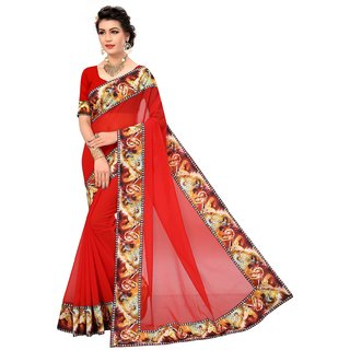 Active Womens Marble Fabric With Digital Print Lace Saree Red Color