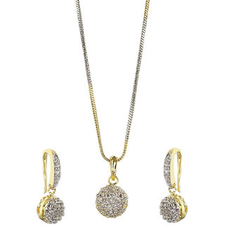 Bhagya Lakshmi Women's Pride American Diamond Pendent Necklace With Earrings For Women And Girls