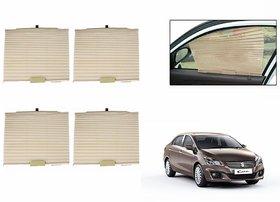 S4D  Car Auto Folding Sunshades Curtains BEIGE Set Of 4-Maruti Ciaz