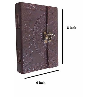 ALCraft Leather Handmade Multi-Purpose Diary with Front Lock System Size 8X6X1.5 inch