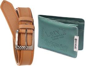 Unique Villa Tan belt 1 green LERV Wallet pack of 2