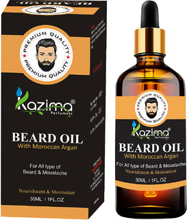 KAZIMA Premium Quality Beard  Moustache Oil For Men (30ml) - with Moroccan Argan Oil Ideal For Thick Soft And Healthy Hair growth, Faster Growing Beard