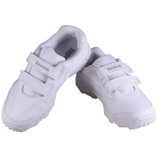 Reebok Racer White Velcro kids school shoes