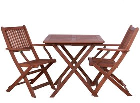 Foldable  Compact Two Seater Dining Set in Natural Brown Finish by Aura