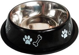 Petshop7 Stylish - Red Regular Anti Skid Dog Food Bowl / Dog Bowl (Small) (500ML, Black)