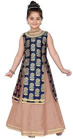 White World Girl's Jacquard Silk Indo-Wastern Dress