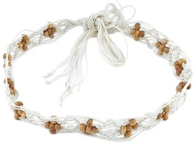 Woap White Colour Cotton Breaded  With Brown Colour Beads Knotted  Belt