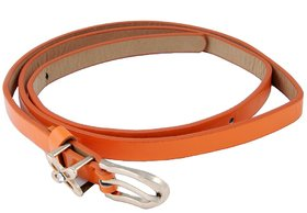 Woap Orange Colour Pu Belt With Gold Polish Bukle