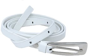 Woap White Colour Pu With Silver Polish Buckle Belt