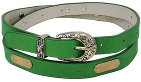 Woap Green Colour Pu With Antic Gold Polish Buckle Belt