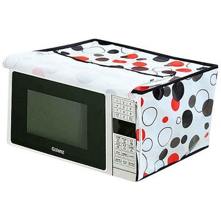 The Intellect Bazaar PVC Printed Microwave Oven Full Closure Cover For 20-23 Litre, White
