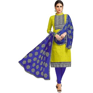 SrishtiCreations Cotton Dress Material for Women Party Wear - Salwar Suit Unstitched - Chartreuse Green