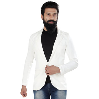 982a3694d9282 Trustedsnap Solid Casual fleece white blazer for Mens